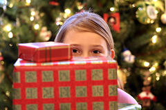 Cute girl at Christmas Royalty Free Stock Photos