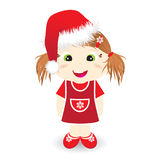 Cute girl with christmas hat. Illustration of cute little girl with santa claus hat Stock Photo