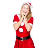 Cute girl with Christmas party dress Royalty Free Stock Photo