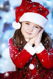 Cute girl and Christmas Tree Royalty Free Stock Photo