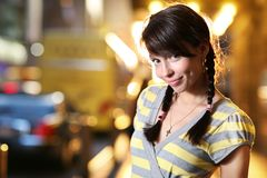 Cute girl in a city Royalty Free Stock Photos