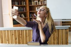 Beautiful Lovely Girl Taking Selfie with Smartphone Stock Photography