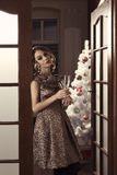 Cute girl in classy christmas night party Royalty Free Stock Image