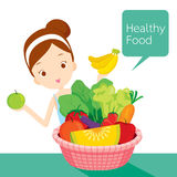 Cute girl with clean foods basket Royalty Free Stock Photos