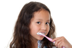 Cute girl cleans teeth Royalty Free Stock Photo