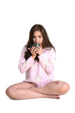 Cute girl with coffee mug. Stock Photo