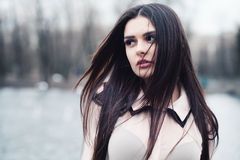 Cute Girl on a Cold Windy Day Royalty Free Stock Photo