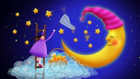 Cute girl collecting stars on clouds, best loop video background