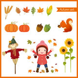 Cute girl and collection for autumn vector illustration
