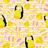 Cute girl, colorful egg, and cute chick on striped background vector cartoon for Easter wallpaper, scrap paper, and postcard, seam. Less pattern, vector royalty free illustration