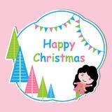 Cute girl and colorful Xmas tree frame vector cartoon, Xmas postcard, wallpaper, and greeting card Royalty Free Stock Image