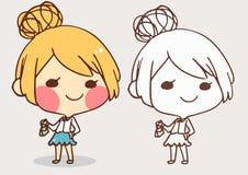 Cute girl coloring  book line art cartoon vector illustration  Stock Image