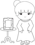 Cute girl coloring page. Useful as coloring book for kids Royalty Free Stock Photography