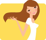 Cute girl comb. Illustration art royalty free illustration