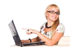 Cute girl and computer Stock Photography
