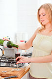 Cute Girl Cooking Stock Photography
