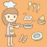Cute Girl Cooking Breakfast cartoon Stock Photo
