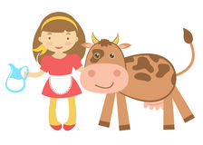 Cute girl with cow Stock Photography