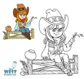 Cute girl in a cowboy costume sits on a fence coloring page Royalty Free Stock Photography