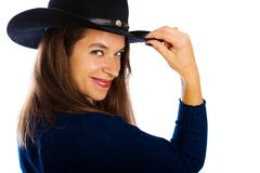 Cute girl in a cowboy hat Stock Photography