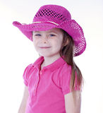 Cute girl with cowboy hat isolated on white Royalty Free Stock Photography