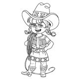 Cute girl in a cowboy suit is holding a lasso on her shoulder Royalty Free Stock Photo