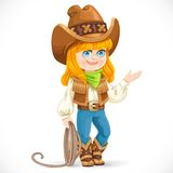 Cute girl in cowboy suit is holding a lasso Royalty Free Stock Images