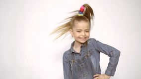 Cute girl - crazy cool winking. Crazy people. Funny face. Kids happy. Funny girl emotions. Children funny expression. Cute girl - crazy cool winking. Crazy stock footage