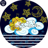 Cute girl in crown flying in the night on the cloud with the Moon and stars. Hand drawn Vector illustration. Cute girl in crown flying in the night on the cloud Stock Photos