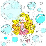 Cute girl in crown flying with soapbubbles. Hand drawn Vector illustration. Cute girl in crown flying with soapbubbles. Hand drawn Vector illustration for your Royalty Free Stock Photography