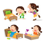 Cute Girl Crying Cartoon Many Action. Royalty Free Stock Images
