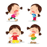 Cute girl crying cartoon. Vector of Cute girl cartoon crying  many action on events Stock Image