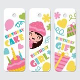 Cute girl, cupcake, birthday cake and gift  cartoon illustration for Birthday label tags design. Postcard and sticker set Royalty Free Stock Photography