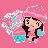 Cute girl, cupcake, birthday cake and gift  cartoon illustration for Birthday label tags design. Postcard and sticker set Stock Images