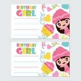 Cute girl and cupcake  cartoon illustration for Happy Birthday card design. Postcard, and wallpaper Stock Photo