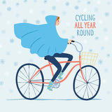 Cute girl cyclist in snowy weather  illustration Royalty Free Stock Photo