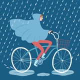 Cute girl cyclist under the rain vector illustration. Girl in raincoat riding on a  bicycle under the rain. Cycling in rainy weather. Hand drawn cartoon Stock Photos