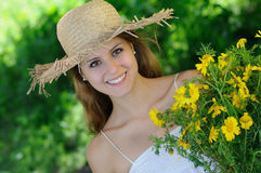 Cute girl with daisies Royalty Free Stock Photo