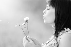 Cute girl and a dandelion. Royalty Free Stock Photography