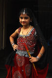 Cute Girl With Dandiya Sticks Stock Photos