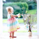 Cute girl decoration home for Easter Stock Images