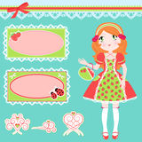Cute girl and designs elements. Set of girl in strawberry patterned dress, cute frames and matching design elements Royalty Free Stock Images