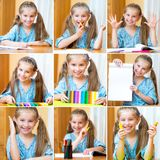Cute girl at the desk Royalty Free Stock Photos
