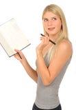 Cute girl with a diary Stock Photos
