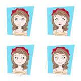 Cute Girl With Different Facial Emotions Set Of Beautiful Woman Face Expressions Stock Image