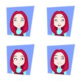Cute Girl With Different Facial Emotions Set Of Young Red Hair Woman Face Expressions Stock Photos