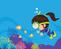 Cute girl  diver under the sea Royalty Free Stock Photography