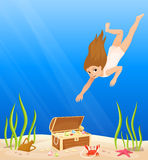 Cute girl is diving under the sea Stock Photography