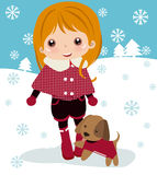 Cute girl and dog vector illustration