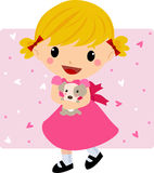 Cute girl and dog Royalty Free Stock Photography
